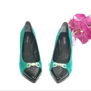 WHBM Teal & Black Leather Samantha Heels NWOB Sz10